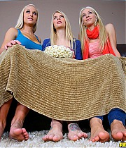 3 super hot shaved pussy lesbian teens eat popcorn and pussy in these porn movie night fucking pics