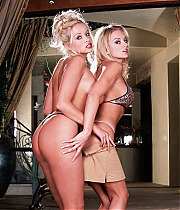 Two blonde centerfolds go down on each other in these pics